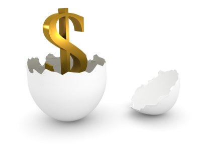 A dollar sign hatching out of an egg